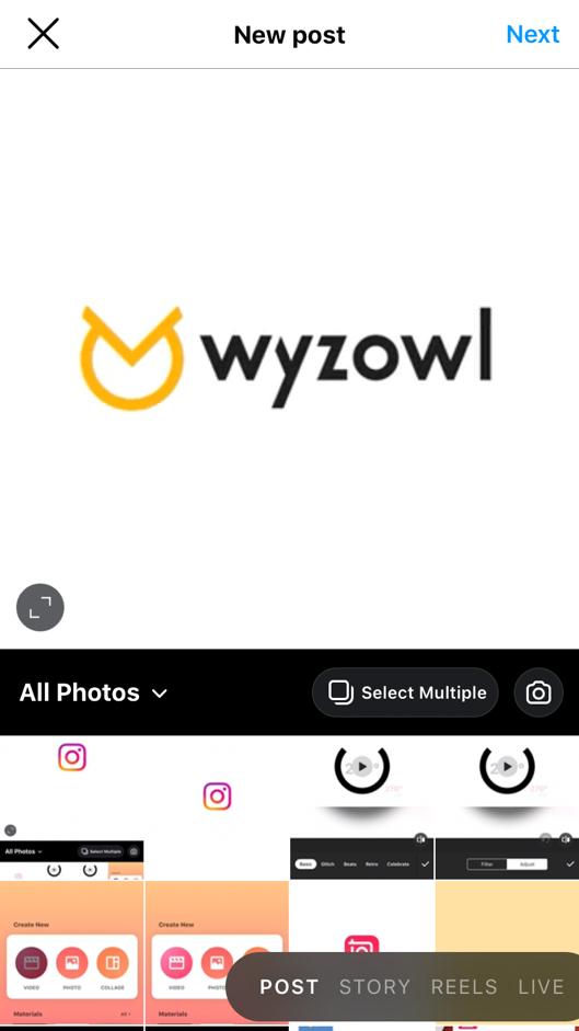 Instagram camera roll