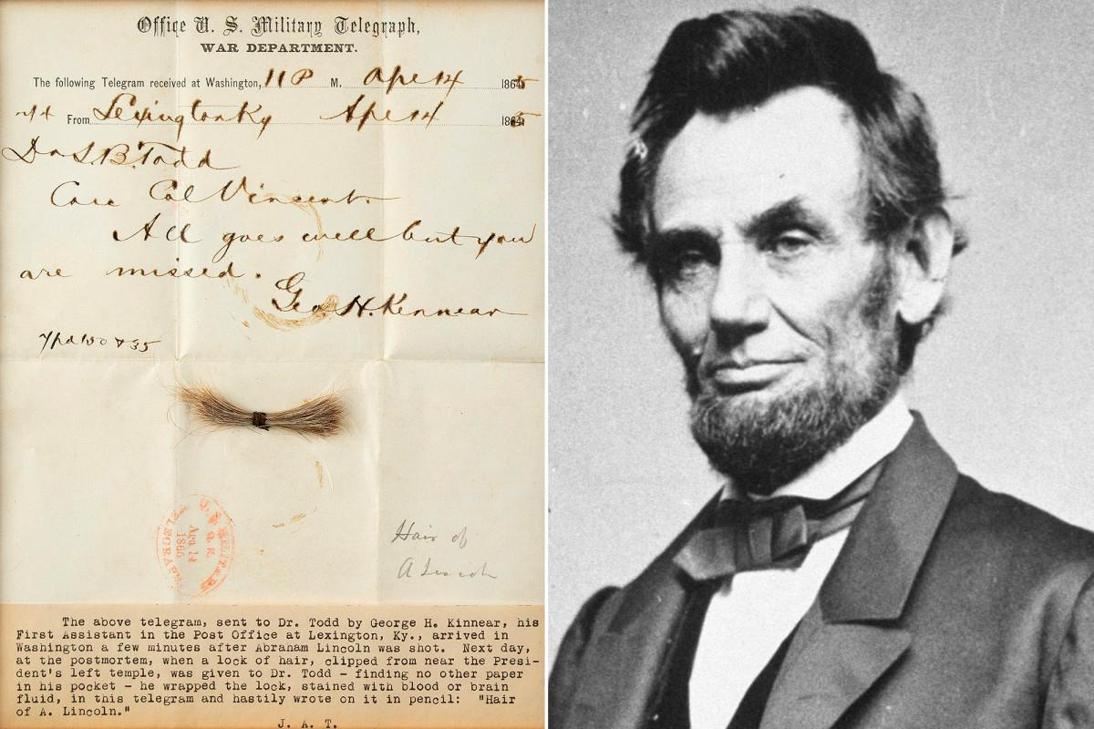 Lock of Abraham Lincoln's hair sells for more than $81,000 ...