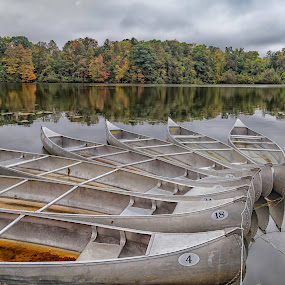 Boat Load of reflections by Tammy Scott - Transportation Boats ( fall leaves, fall, reflections, canoe, nature photography, fall color )