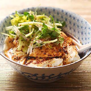 Spicy Warm Silken Tofu With Celery and Cilantro Salad.