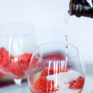 Strawberry Basil Sorbet Champagne Cocktail.