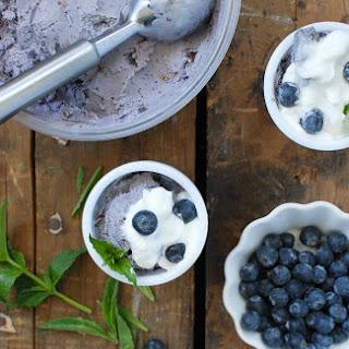 Blueberry Coconut Ice Cream with Dark Chocolate bits {dairy-free}