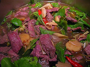 Photo: hot galanga beef soup with holy basil