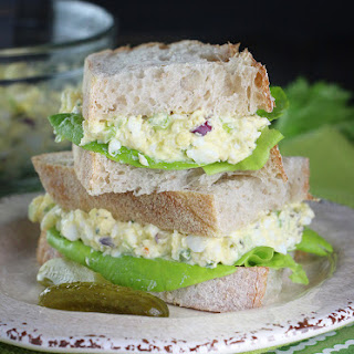 Greek Yogurt Deviled Egg Salad Sandwiches.