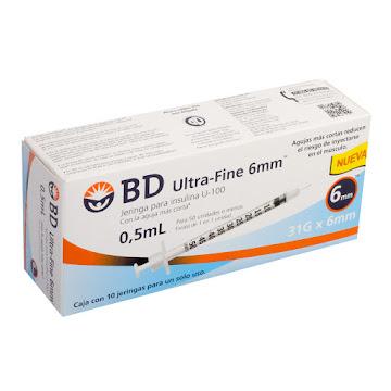Jeringa BD Ultra Fine   Para Insulina 0.5Ml 31Gx6mm Caja x10Und.