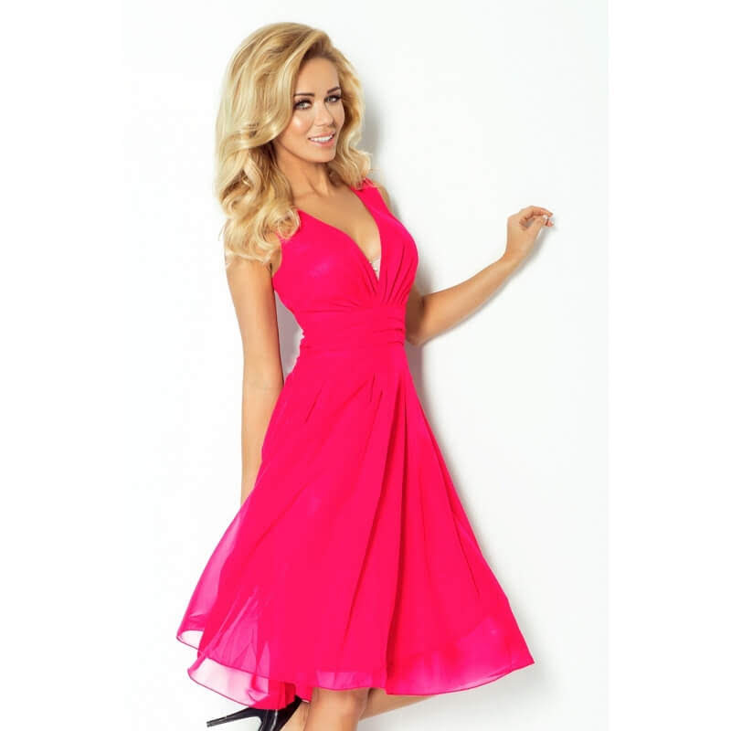 NU CHIFFON DRESS WITH LINING - FUCHSIA
