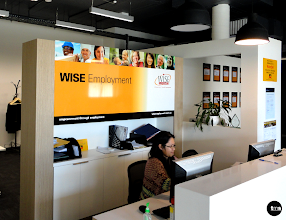 Photo: WISE Employment | Richmond, #receptionsignage #printedgraphic to reception wall http://www.decentlyexposed.com.au/blog/2013/09/30/wise-employment-richmond-signage/