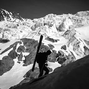 Skitouring  by Eden Meyer - Sports & Fitness Other Sports ( mountain, black and white, snow, skitouring, climbing ski )