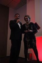 """Photo: Maxim Behar and Larisa Rudakova - winner of C4F award """"Relations of the Future"""""""