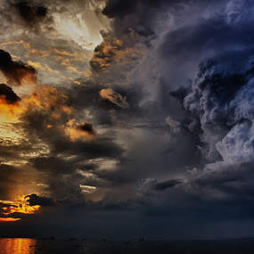 Light and Darkness by Jed Ivan Javillo - Landscapes Cloud Formations ( sunset, cloud, storm, sun, rain )