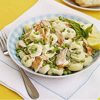 Tortellini Salad with Salmon and Peas.