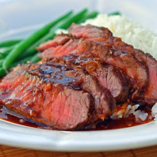 Broiled Asian-Style Flat Iron Steak.