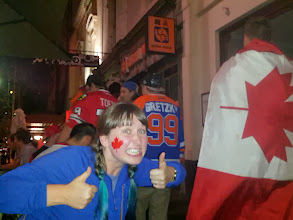 Photo: We spent all Sunday searching out the best spot in Melbourne to watch the men's gold medal  hockey game.  I think we found it... a place packed with team Canada fans and serving poutine.