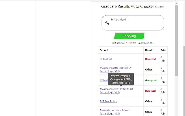 Gradcafe Auto Checker
