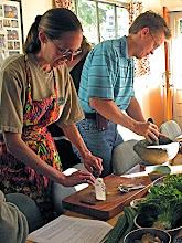 "Photo: Amber and Vassili making ""hunglay"" curry paste"