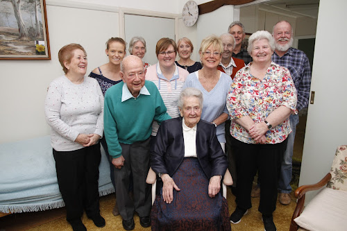 Joining the 101st birthday celebration, back, Pat Cameron, Rebecca Devine, Anne Rowe, Sam Tailby, Jenny Tucker, Reg Richards, Terry Coker and Graham Skelton, middle, Ron Holliday, Robyn Holliday and Karen Skelton with front, Eileen Spraggs (Gai Leech absent from photo).