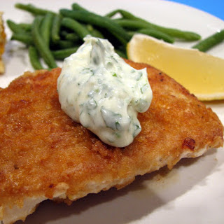 Cornflake Crusted Halibut with Chile-Cilantro Aioli.