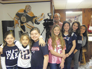 Photo: The kare kits team - Chloe, Emily, Ava, Olivia, Kylee, Mia & Brenda with Channel 4 Producer Ken Tucci on March 29, 2013.