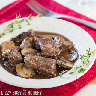 Crock Pot Beef and Mushrooms with Red Wine Sauce.