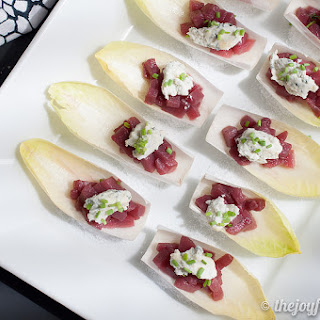 Wine Poached Pears with Goat Cheese and Endive