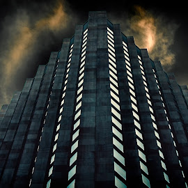 Alien inspiration... by Claudius Cazan - Buildings & Architecture Office Buildings & Hotels ( cloud formations, night photography, manhattan, new york city )