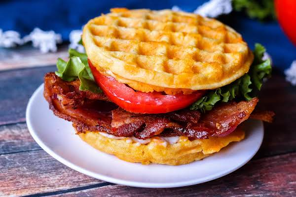 Chaffle Blt On A Plate Ready To Be Served.