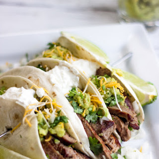 Mexican Steak Tacos with Simple Guacamole.