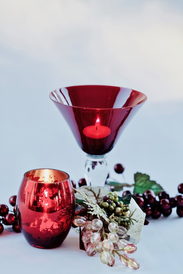 Wishing You Merry Christmas by Sherry Hallemeier - Public Holidays Christmas ( winter wonderland, happy, still life, winter, candles, seasons greetings, wishing, berries, christmas, holiday, merry, red, public, merry christmas, candle light, martini glass, purple, grapes )