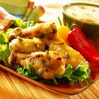 Pineapple Jalapeno Wings With Creamy Dipping Sauce.