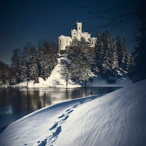 First visitor by Zarko Piljak - Landscapes Forests ( footprints, trakoscan, snow, croatia, castle, trakošćan,  )