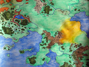 Photo: Here's the map with color. It worked nicely, with the exception of the brown mountains at lower-right, which reduced the contrast of the ink more than I'd like. I was also able to do some more precise effects with the color/ink interfaces, such as the plateaus at upper left.