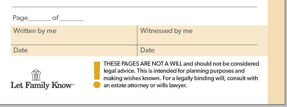 Let Family Know pages from What I want you to have section have a witnessing feature