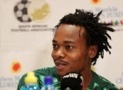 Bafana Bafana Belgium-based striker Percy Tau during a press conference at in Monte Casino in Fourways, north of Johannesburg, on November 12, 2018.