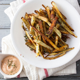 Homemade French Fries With Garlic Sriracha Mayo
