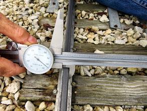 "Photo: George Leventon doing track gauge measurements.  7.584""    HALS Work Day 2015-0411 RPW"