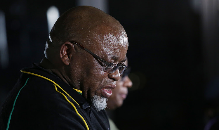 Secretary General of the ANC Gwede Mantashe briefs the media after delivering his diagnostic organisational report in plenary at the ANC Policy Conference held at Nasrec.