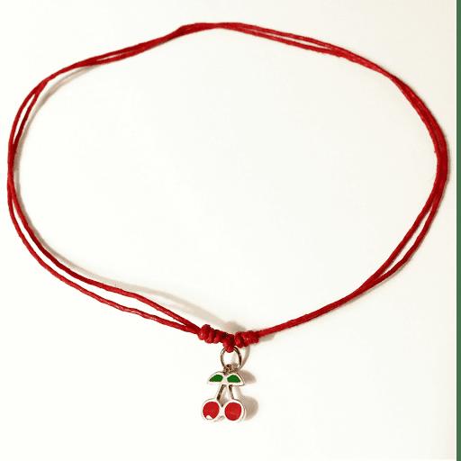 Collier pendentif cerise rouge