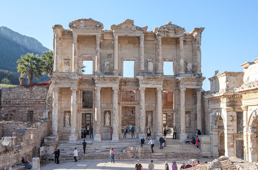 The Library of Celsus was built in 114-117 AD by Consul Gaius Julius Aquila to honor his father Celsus, a Roman senator.