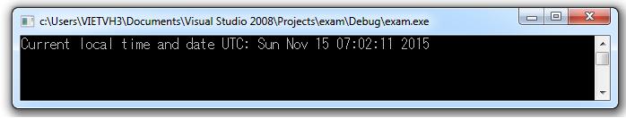 Hàm gmtime convert timer thành thời gian UTC