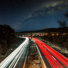 Light Painting.. by Laurentiu Barbu - City,  Street & Park  Night ( nikon, light, car, longexposure, paint, photo, ultrawidelens, romania, highway, lanscape,  )
