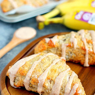 Banana Bread Scones with Cinnamon Cream Cheese Glaze
