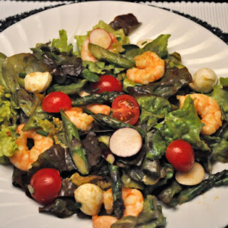 Shrimp and Spinach Salad, with Asparagus & Radishes