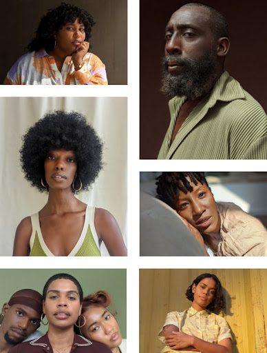 A portrait collage shows people of varying skin tones, each in different lighting conditions. The portraits clearly show everyone's features.
