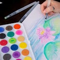 Watercolor painting tutorial icon