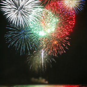 Fireworks at the Beach by Freda Nichols - Abstract Fire & Fireworks ( pwcfireworks, tide, fireworks, reflections, beach, colorful, mood factory, vibrant, happiness, January, moods, emotions, inspiration )