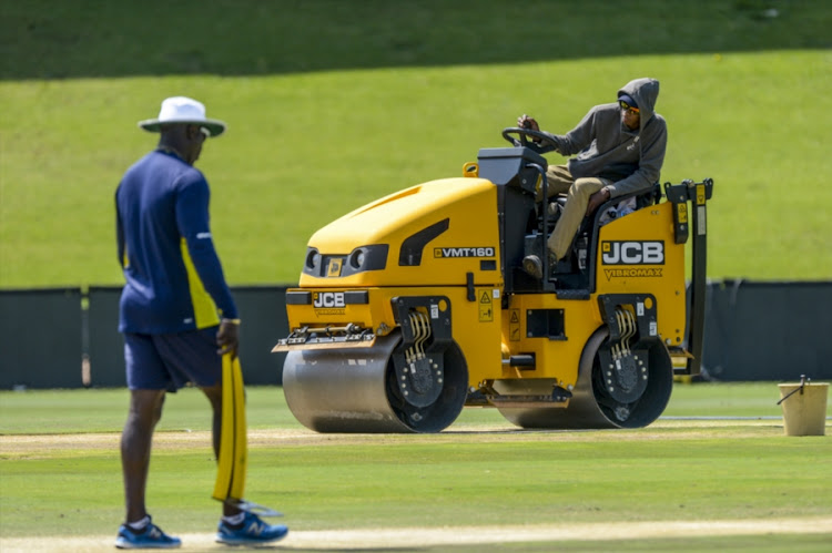 Ottis Gibsongoing about his business as the pitch is being prepared too during the South African national men's cricket team training session and press conference at SuperSport Park on January 12, 2018 in Pretoria, South Africa.