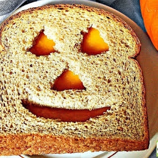 Halloween Jack-O-Lantern Cheese Sandwich.