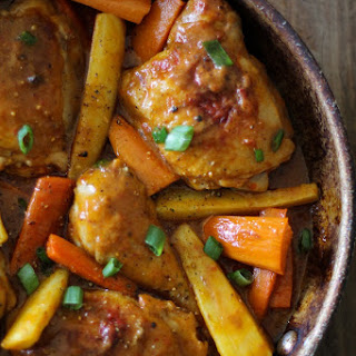 Coconut Harissa Curry Braised Chicken with Root Vegetables