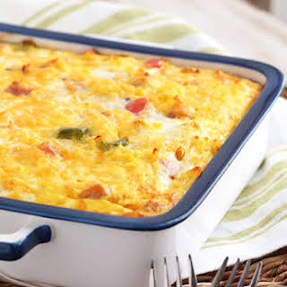 Ham, Cheddar and Hash Brown Breakfast Casserole.