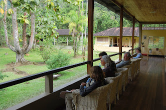 Photo: At the lodge we are given welcome drinks and invited to relax on the spacious veranda and watch the hummingbirds.